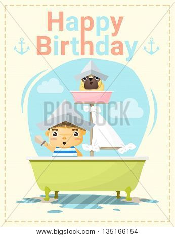Happy birthday card with little boy and friend, vector, illustration