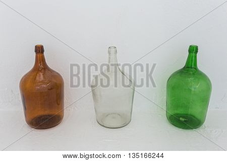 The jars for storing wine and decorations. Portuguese traditional.