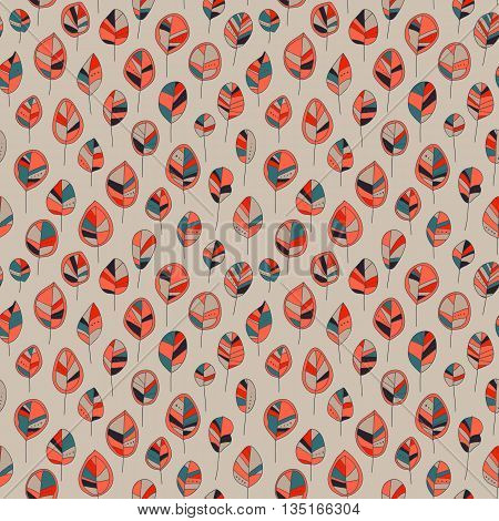 Seamless pattern with colored autumn leaves  on a pastel background. Vector illustration Seamless pattern can be used for  pattern fills surface textures.
