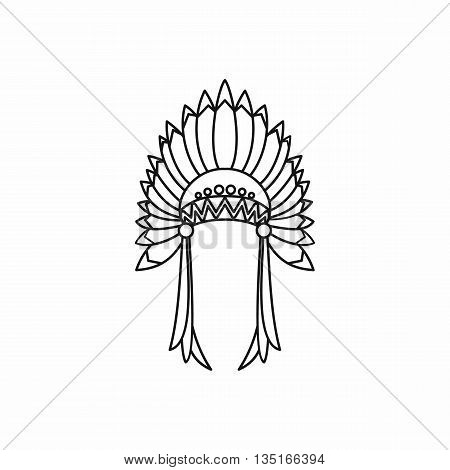 Indian headdress icon in outline style isolated on white background