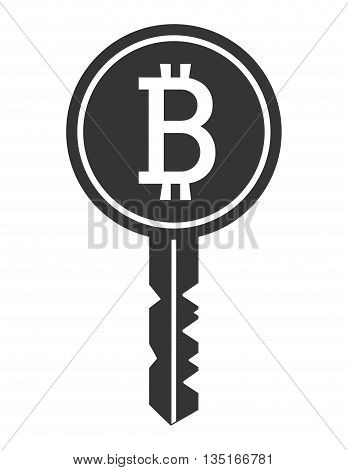 black and white key with bitcoin signal over isolated background, vector illustration