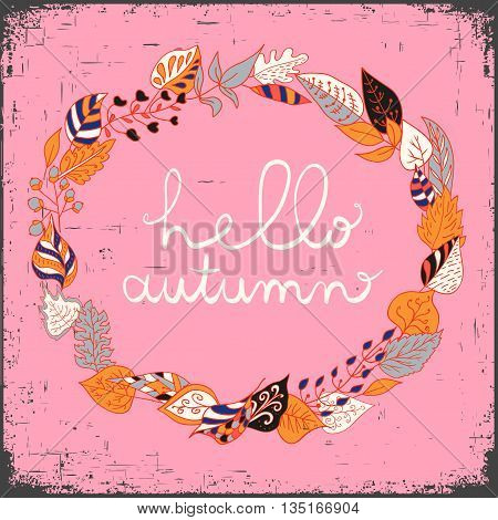 Autumn floral frame with leaves and text hello autumn. Bright floral background in vintage style. Yellow background. Use for wedding invitations and birthday cards