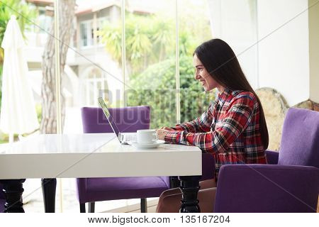 Sideview of young dark-haired woman in casual clothes working on her laptop in comfortable sunlit room with broad window
