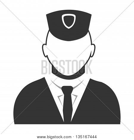 police avatar wearing black suit tie and hat over isolated background, vector illustration