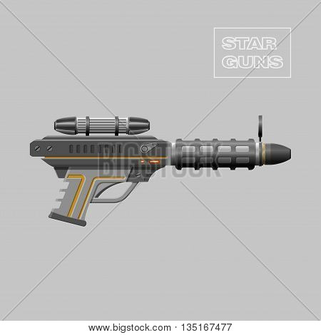 Star guns. Video game weapon. Virtual reality device. Rifle. Vector illustration