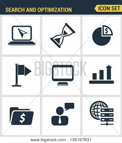 Icons Set Premium Quality Of Website Searching Engine Optimization, Seo Analytics And Data Managemen