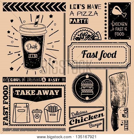 Seamless background with fast food symbols. Menu pattern. Vector Illustration with beverage cheeseburger knife and lettering on craft paper background. Decorative elements for packing design