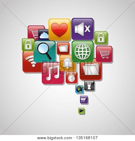 Mobile technology applications graphic icons, vector illustration design