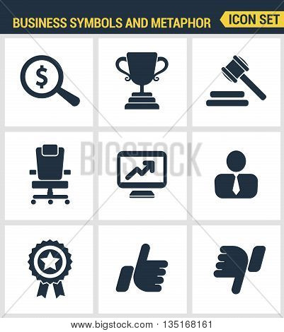 Icons Set Premium Quality Of Various Business Symbols And Metaphor Elements. Modern Pictogram Collec