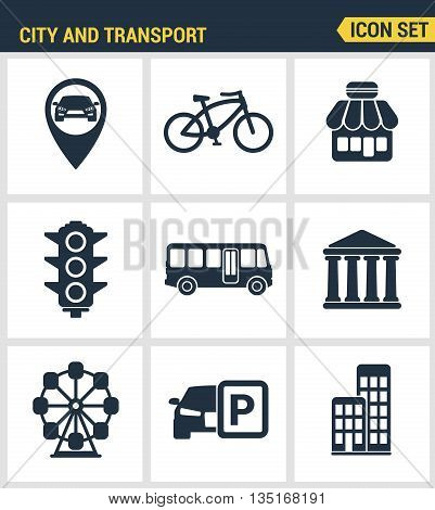 Icons set premium quality of various city elements street transportation sign. Modern pictogram collection flat design style. Isolated white background.
