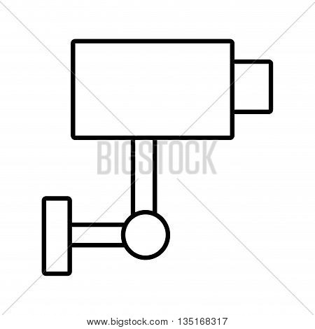 white security camera on side view over isolated background, vector illustration