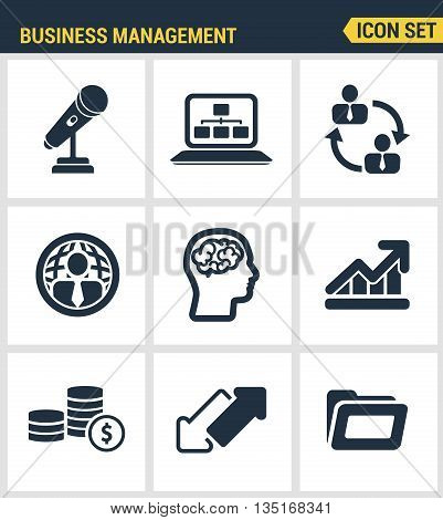 Icons set premium quality of business people management, employee organization. Modern pictogram collection flat design style symbol collection. Isolated white background.