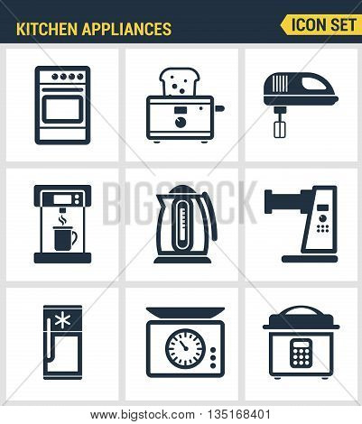 Icons set premium quality of kitchen utensils, household tools and tableware. Modern pictogram collection flat design style symbol collection. Isolated white background.