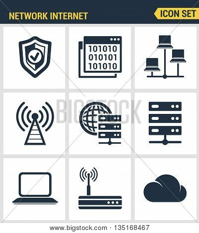 Icons set premium quality of cloud computing network, internet data technology. Modern pictogram collection flat design style symbol collection. Isolated white background.