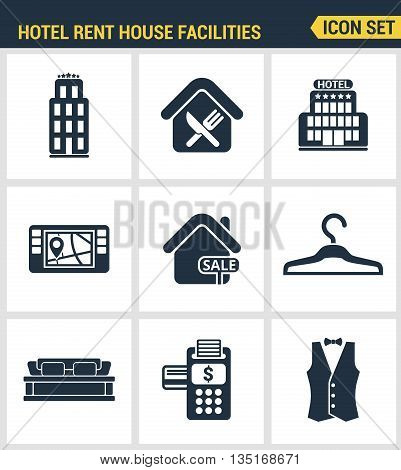 Icons set premium quality of hotel service amenities, rent house facilities. Modern pictogram collection flat design style symbol collection. Isolated white background.