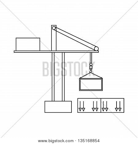 Truck crane icon in outline style isolated on white background. Cargo delivery symbol
