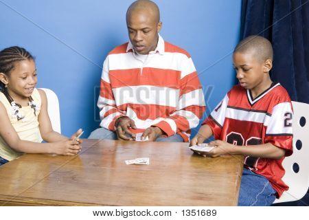 Vater und Kinder-Spielkarten