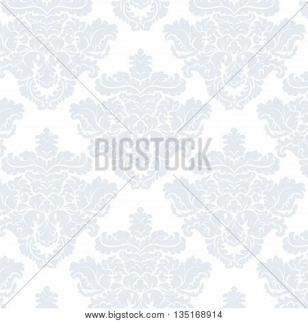 Vintage Classic Damask acanthus leaf ornament element. Luxury texture for backgrounds and invitation cards. Serenity blue colors. Vector