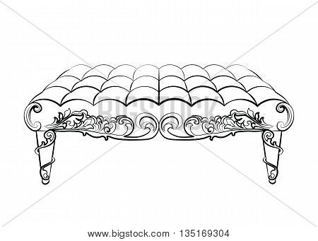 Bench Furniture in classic rococo style ornament. Vector sketch