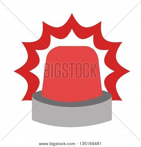 red alarm icon with grey holder over isolated background, vector illustration