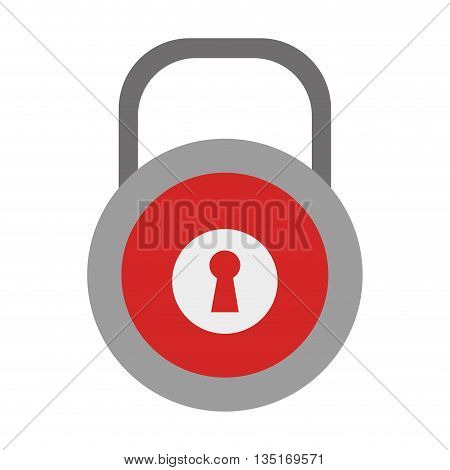 red and grey lock icon with red key space over isolated background, vector illustration