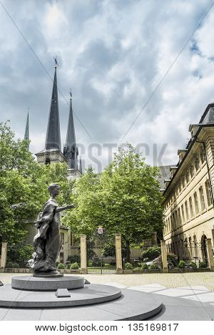 LUXEMBOURG, LUXEMBOURG - JUNE19, 2016: Monument of Charlotte, Grand Duchess of Luxembourg. The monument  was inaugurated on April 29, 1990.