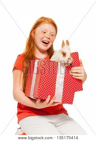 Young girl with her new pet dog in birthday present red box happy and laughing isolated on white