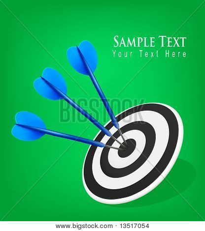 Three darts hitting a target. Success concept.