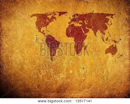 leather background with world map