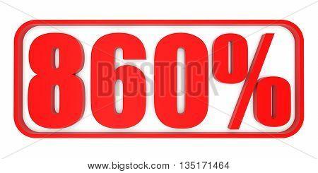 Discount 860 Percent Off. 3D Illustration.