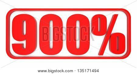 Discount 900 Percent Off. 3D Illustration.