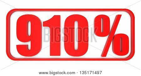 Discount 910 Percent Off. 3D Illustration.