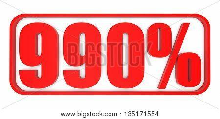Discount 990 Percent Off. 3D Illustration.