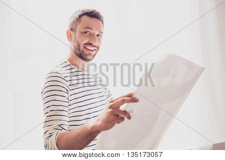 Happy Smiling Man Looking At Scheme  Of His Project