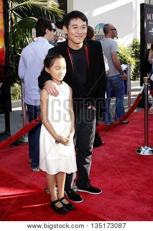 Jet Li and daughter Jane at the Los Angeles premiere of 'The Mummy: Tomb Of The Dragon Emperor' held at the Gibson Amphitheatre in Hollywood, USA on July 27, 2008.