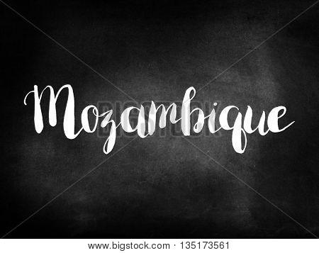 Mozambique written on a blackboard