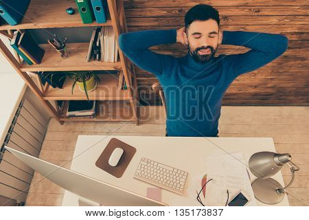 Top View Of Businessman Resting After Long Working Day