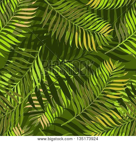 Vector Seamless Pattern With Palm Leaves. Design For Fashion Textile Summer Print, Wrapping Paper, W