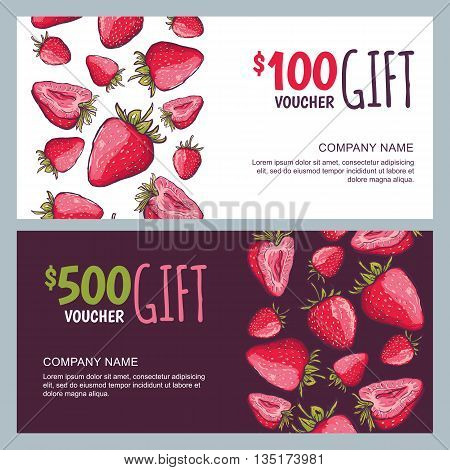 Vector Gift Voucher, Summer Design With Red Strawberries. Business Card Template. Berries Background
