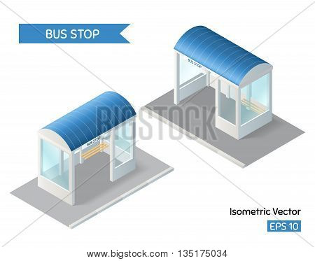 Bus stop icon. Isometric vector illustration. EPS 10