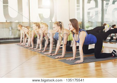 Group of young women in fitness class. Group of people making exercises. Girls do leg donkey kick exercise. Healthy lifestyle, training, sport, gym studio. Sporty girls in fitness club, aerobics.