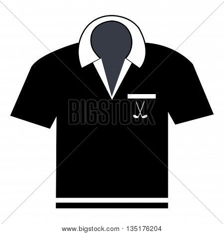 black polo shirt front view over isolated background, vector illustration