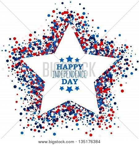 Happy Independence Day festive greeting card with scatter circles in star shape. Design concept poster in traditional American colors - red white blue. Isolated.