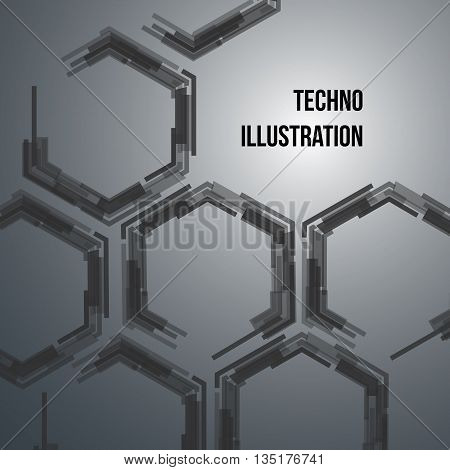 Hi-tech geometric dark blue background with hexagons. Vector design