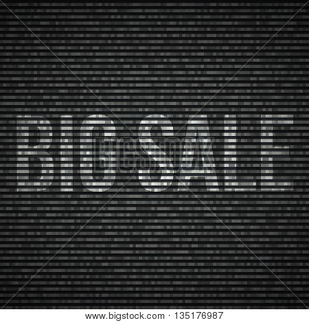 No signal TV illustration Interference screen. Big sale text.Vector illustration.