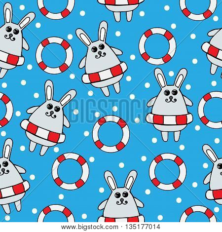 Seamless with gray rabbit in rescue circle on the blue background. Rabbit series.