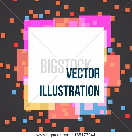 Abstract banner with colors pixels, vector illustration