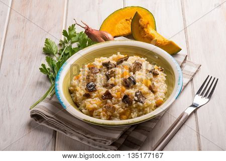 risotto with pumpkin and mushroom