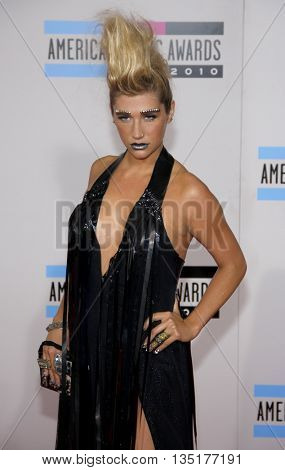 Kesha at the 2010 American Music Awards held at the Nokia Theatre L.A. Live in Los Angeles, USA on November 21, 2010.