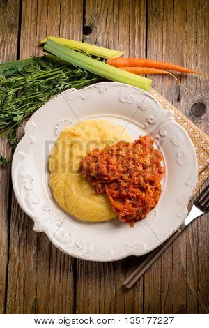 polenta with leek and tomato sauce